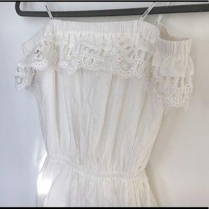 Gypsy strapless a line lace white mini dress S